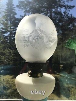 Superb Victorian oil lamp shade + Original matching font/reservoir