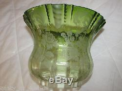 Superb antique victorian etched green glass tulip period irish oil superb antique victorian etched green glass tulip period irish oil lamp shade aloadofball Image collections