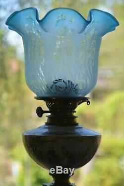 Superb pair of original Victorian 4 duplex oil lamp shade