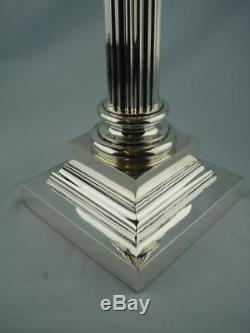 Tall 18.5 Victorian, Cast Brass, Silver Plated Corinthian Column Oil Lamp Base