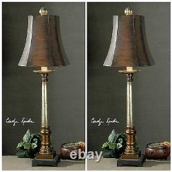 Two Trent Vintage Restoration Decor Table Buffet Lamp Light Uttermost 29058