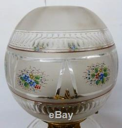 Unusual Victorian Cut Glass Oil Lamp Shade With Enamelled Flowers