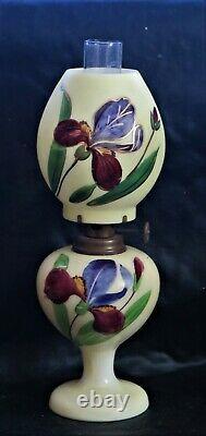 V Rare Iris Victorian Art Glass Miniature Oil Lamp 8H X FINE