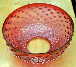 VICTORIAN ANTIQUE 14 CRANBERRY HOBNAIL GLASS HANGING OIL LAMP LIGHT SHADE No. 2