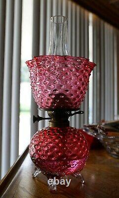VICTORIAN ANTIQUE HOBNAIL OIL LAMP HANDBLOWN GLASS 1800's