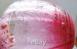 VICTORIAN DUPLEX CRANBERRY GLASS & BRASS CORINTHIAN COLUMN OIL LAMP c1870's