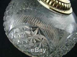 VICTORIAN HEAVY FACET CUT CRYSTAL OIL LAMP FONT BAYONET FIT, 21mm UNDERMOUNT
