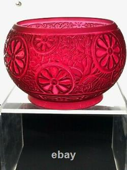 VICTORIAN Ruby Red Glass Embossed Oil Lamp Shade Duplex