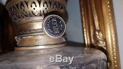 Very large Antique oil Lamp Silver plated