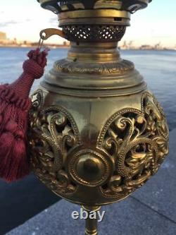 Victorian 3 dolphins bronze astral oil lamp Jno. Williams NYC 1884 Tiffany & Co
