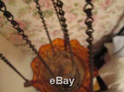 Victorian Amber Hanging rise and fall Oil Lamp not cranberry/vaseline glass