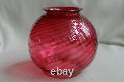 Victorian Antique Cranberry Swirl Glass Pull Down Oil Lamp, 1883 Burner