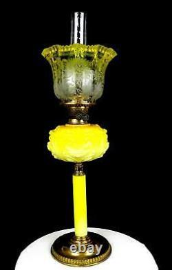 Victorian Antique Yellow Glass & Brass Duplex Burner 27 Hurricane Oil Lamp 1890