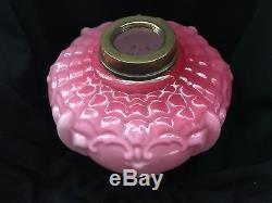 Victorian Art Nouveau Cranberry Pink Kerosene / Oil Lamp