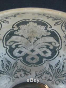 Victorian, Art Nouveau, Etched Glass Beehive Oil Lamp Shade, 4 Fitter Rim