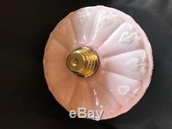 Victorian Art Nouveau Peach Amber Kerosene / Oil Lamp