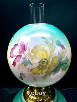 Victorian Banquet Oil Lamp Hand Stenciled Poppy Flowers GWTW A. L. B Company