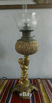 Victorian Banquet Parlor Converted Oil Lamp Ornate Cast Metal Putti Cherub