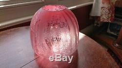 Victorian Beehive Cranberry/ruby Etched Oil Lamp Shade