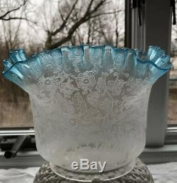 Victorian Blue & Clear Etched Glass Oil Lamp Shade 5 Fitter
