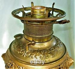 Victorian Brass Cherubs Banquet Parlor Oil Lamp Electrified