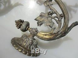 Victorian Brass Gas Wall Light Sconce Lamp Antique Old Gilt PARTS / PROJECT