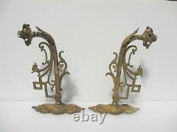 Victorian Brass Gas Wall Lights Antique Old Rococo Gilt Leaf Sconces Griffin