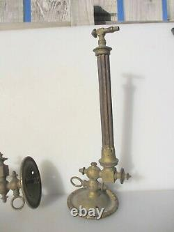Victorian Brass Gas Wall Lights Lamps Antique Old Ribbed Reeded Georgian