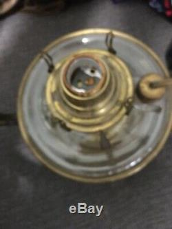 Victorian Brass Hanging Oil Lamp Cast Font Pierced Dome And Beaded Prism Rare