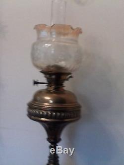 Victorian Brass Oil Lamp Floor Standing
