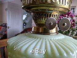 Victorian Brass Oil Lamp, Vaseline Uranium Glass Shade & Font. Powell, Walsh Etc
