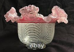 Victorian Candy Stick Oil lamp shade White & Cranberry Spirals GLASS ca. 1890