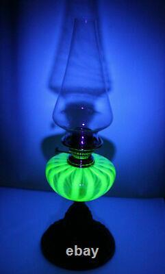 Victorian Candy Stripe Vaseline Uranium Glass Oil Lamp, Cherub Angel base GSP