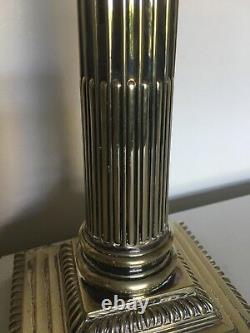 Victorian Corinthian Column Oil Lamp & Cut Glass Reservoir 17 1/2 inch tall