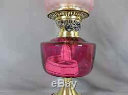 Victorian Cranberry Duplex Table Oil Lamp Complete With Original Tulip Shade