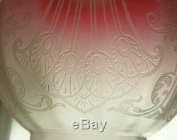 Victorian Cranberry Glass Globe Oil Lamp Shade