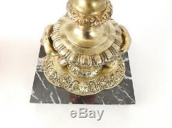 Victorian Cranberry Oil Lamp- Marble Base Gilded Ornate Column Free Uk Post