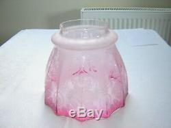 Victorian Cranberry Oil Lamp Shade Perfect Condition