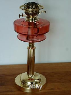 Victorian Cranberry glass & brass oil lamp with chimney Circa 1890-1900