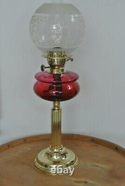 Victorian Cranberry glass & brass oil lamp with chimney & Shade Circa 1900