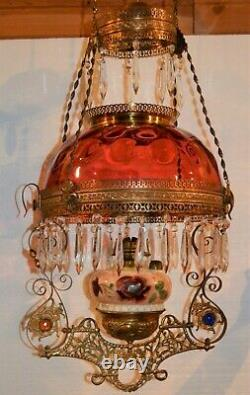 Victorian Cranberry or Ruby Red Bullseye Thumbprint Oil Lamp Shade 1880s 13.75