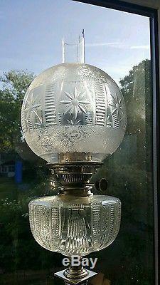 Victorian Crystal Deep Cut Glass Oil Lamp Font Shade