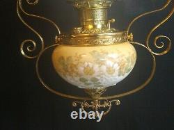Victorian Edward Miller Hanging Library Gone With The Wind Oil Lamp E. M. & Co