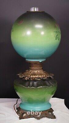 Victorian Electrified Oil Lamp Fostoria Gone With The Wind Painted Cabbage Rose