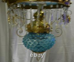 Victorian Electrified Re-Brassed Hanging Oil Lamp with Blue Hobnail Glass Shade