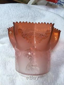 Victorian Etched Glass Oil Lamp Shade Apricot