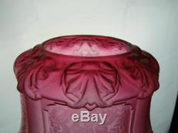 Victorian Etched & Moulded Graduated Cranberry Glass Oil Lamp Shade 4 Fitter