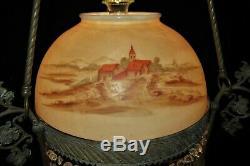 Victorian European Shade Hanging Parlor Library Kerosene Oil Lamp Electrified