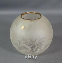 Victorian French Baccarat Acid Etched Crane Birds Satin Glass Oil Lamp Shade&Tag