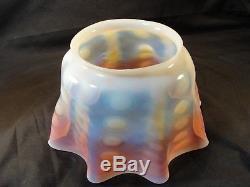 Victorian Glass Oil Lamp Shade Duplex Opalescent Cranberry Coin Dot Ruffled 5
